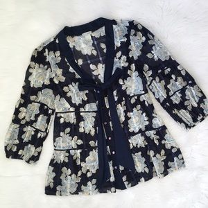 Anthropologie Blue Floral Button Down Bow Blouse